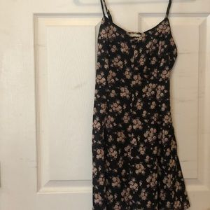 Forever 21 black lace up criss cross floral dress